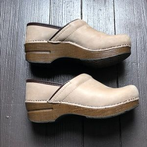Dansko clogs tan suede and leather